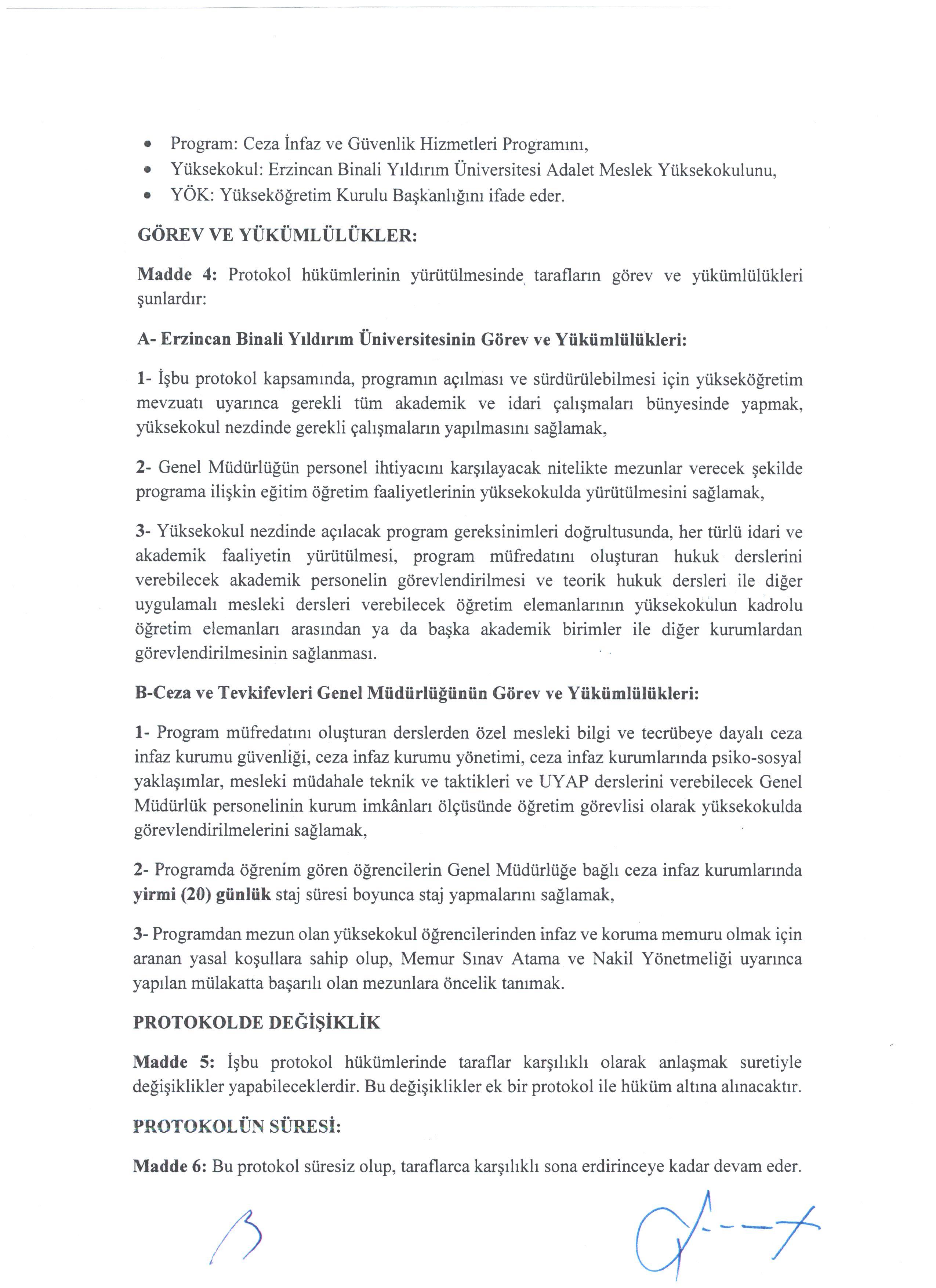 ceza infaz ve guvenlik hizmetleri staj protokolu adalet meslek yuksekokulu